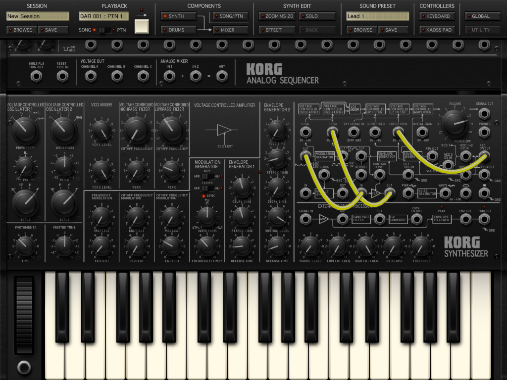 Korg's iMS-20 synth - sounds incredible regardless of the platform.