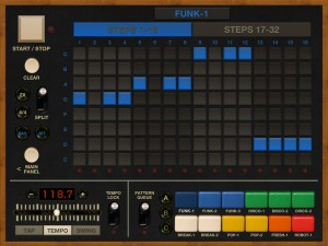 Funkbox also supports a monophonic bass sequencer track for each pattern.