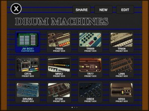 Funkbox offers a very comprehensive selection of classic drum sounds - and there are more if you swipe across to the next screen or two.