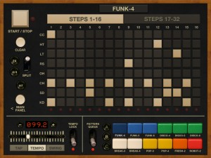 Funkbox's main pattern editing screen. The step sequencer is easy to use and has a good feature set.