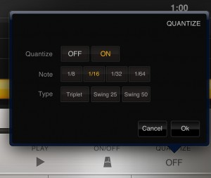 The quantize options are available when recording and can tidy up any sloppy playing.