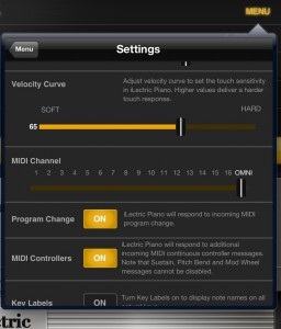 The Settings dialog allows you to customise the MIDI velocity curve as well as configuring background audio and other performance settings.