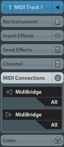 MIDI Bridge appears as a MIDI in/out device within the Cubasis Connections panel for each MIDI track.