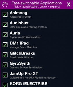 MIDI Bridge allows fast switching between apps and contains a useful list of apps that support this feature under the Applications panel