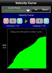 You can create a custom velocity curve via MIDI Bridge.