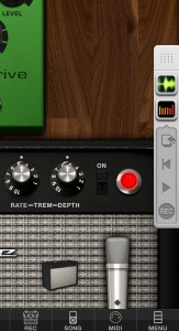 The Audiobus control strip in Amplitube.