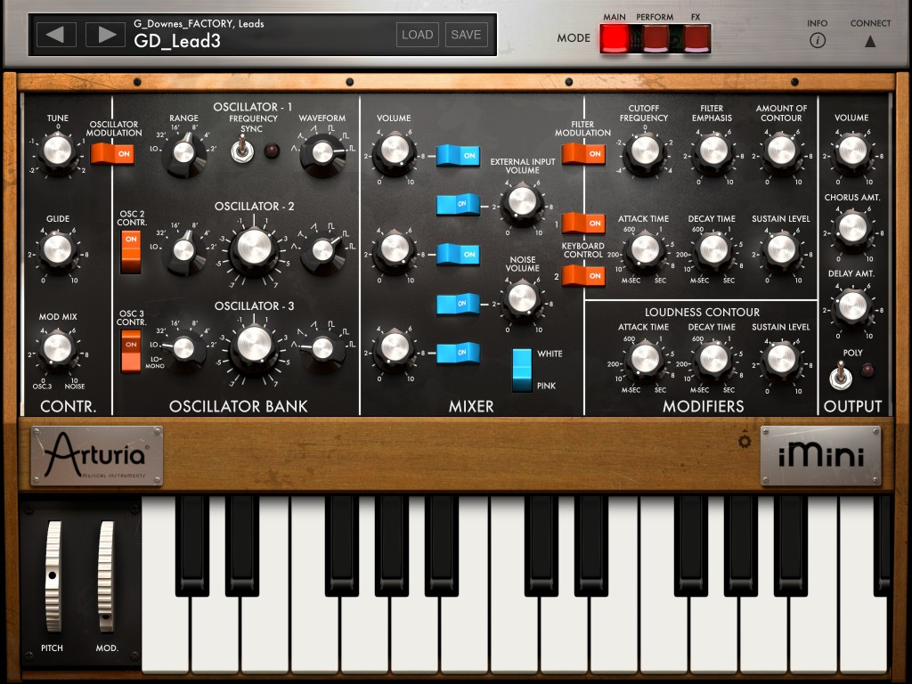 iMini faithfully recreates the look of the original Minimoog - but with a few extras thrown in for good measure.