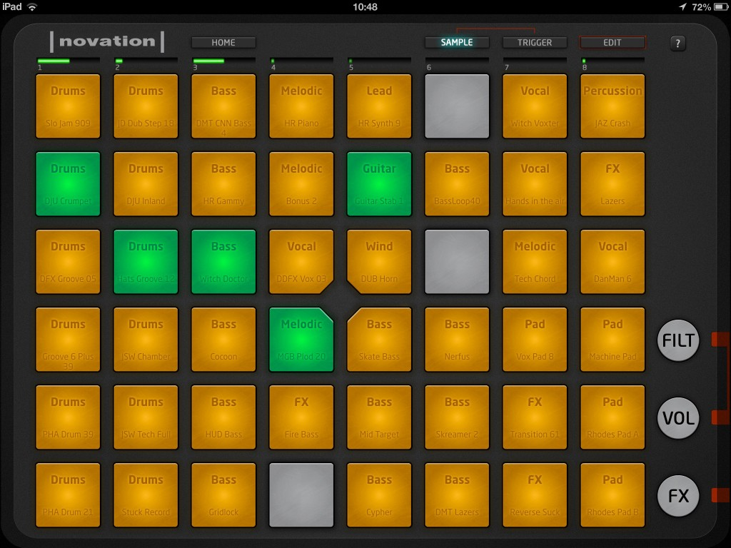 Launchpad's main screen - just tap some pads and get your loops looping.