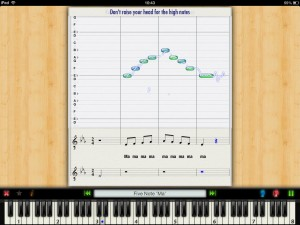 While singing through a lesson, you get a live pitch display to illustrate how well you are doing.