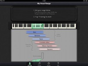 The app allows you to specify your vocal range and tailors the lessons to suit.