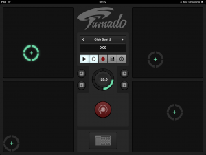 By default, in the new landscape mode, Turnado displays the transport controls and the four X-Y controller pads.