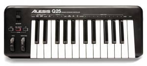Something like the Alesis Q25 makes for a compact solution.