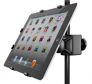 IK Multimedia's iKlip stands provide a simple solution for keeping your iDevice out of harms way at rehearsal or a gig.