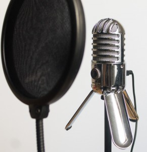 The mic includes a screw mount for use with a microphone stand.