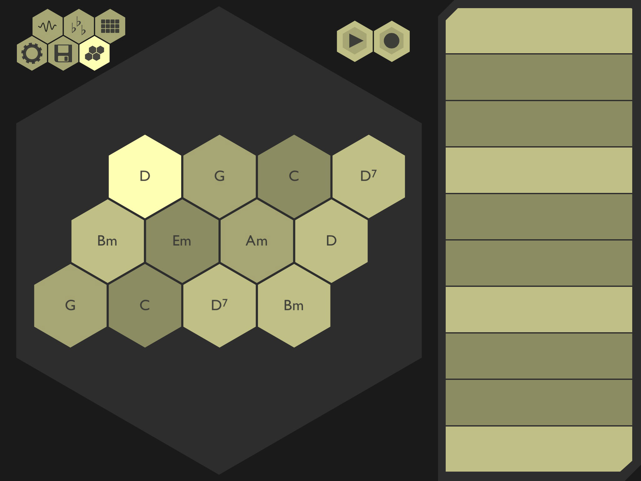 Chordion music app review olympia noise cos brilliant midi chordions main playing screen one finger chords and a touch strip for a melody hexwebz Choice Image