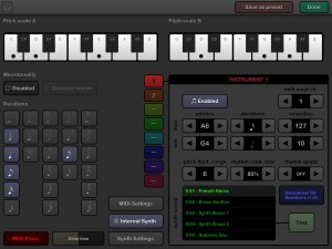 The Editor screen where you can tweak the rules that apply to each of up to eight instruments and their MIDI performance.