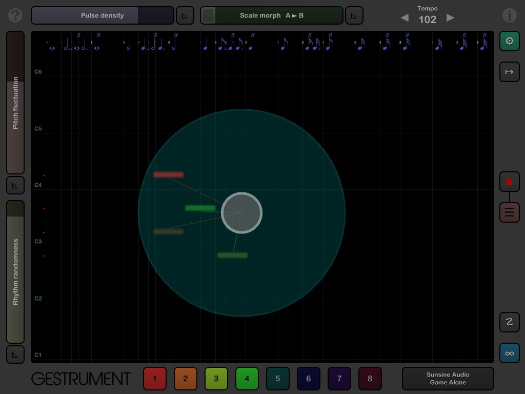 The main performance screen - two fingers can generate an amazing number of MIDI notes.