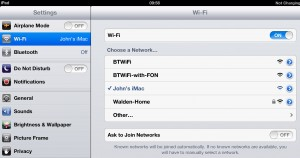 My iPad is now using the  wi-fi network created on my Mac.