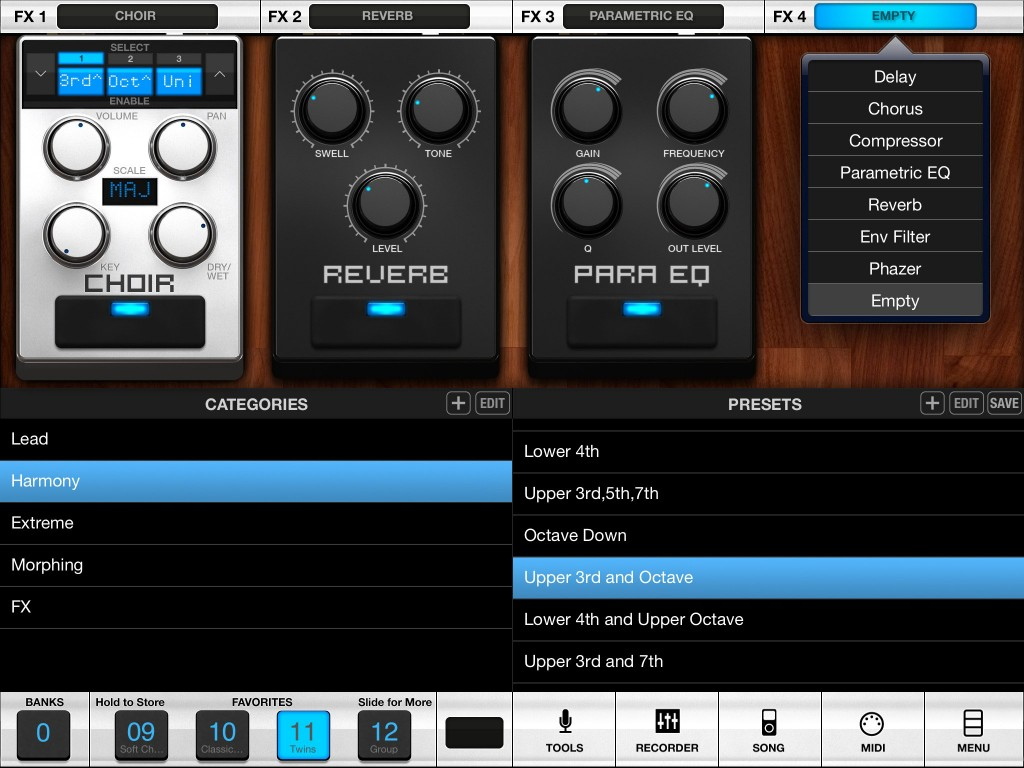 VocaLive provides a very neat collection of vocal-specific audio processing options.