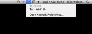 You might need to turn on your Mac's wireless network option.