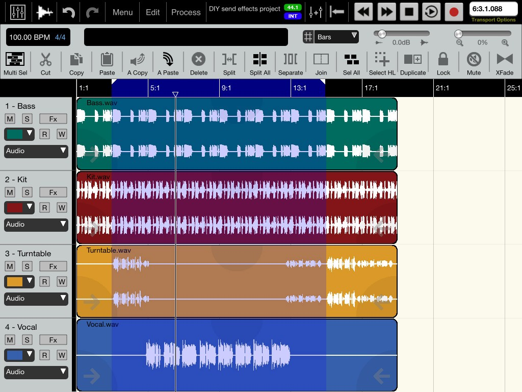 Fig.1 - our example project with the vocal track to be processed on track 4.