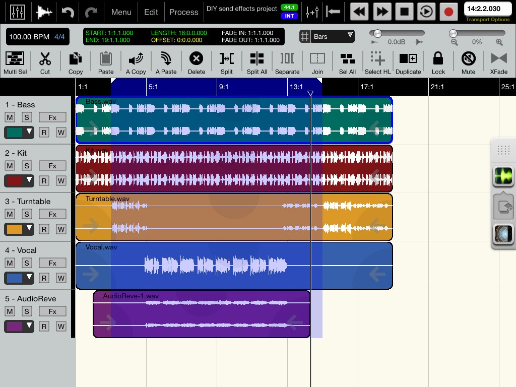 Fig. 11 - The 'wet' (processed) audio has now been recorded on to track 5 and, on playback, can be blended with the dry track to create the required result.