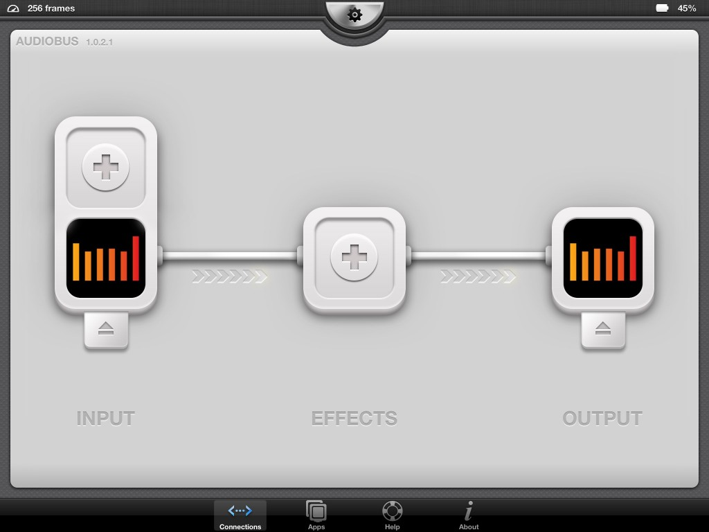 Fig. 4 - Auria is now in both the Input and Output slots of Audiobus.