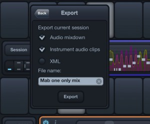 The Export options allow you to create both a stereo mix and individual audio loops from each instrument.