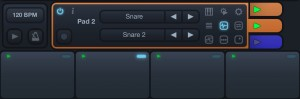 You can configure the drum sounds associated with each pad from the range of samples included within he app.