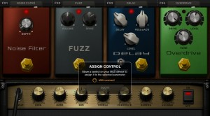 With BlueBoard in control change mode you can use Amplitube's 'MIDI learn' to like the foot switches with the on/off button of the Amplitube effects.