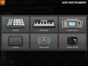IAA instrument apps are an option when you create a new track.