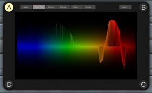 Additional parameters can be accessed from the 2D screen where you can configure settings for each of the four sound sources. here, the pan position of different frequencies for sound source A is being configured.