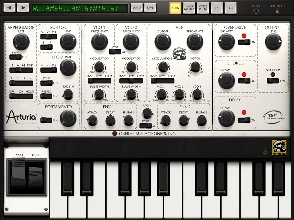 iSEM's main screen certainly captures the look of the original hardware synth.