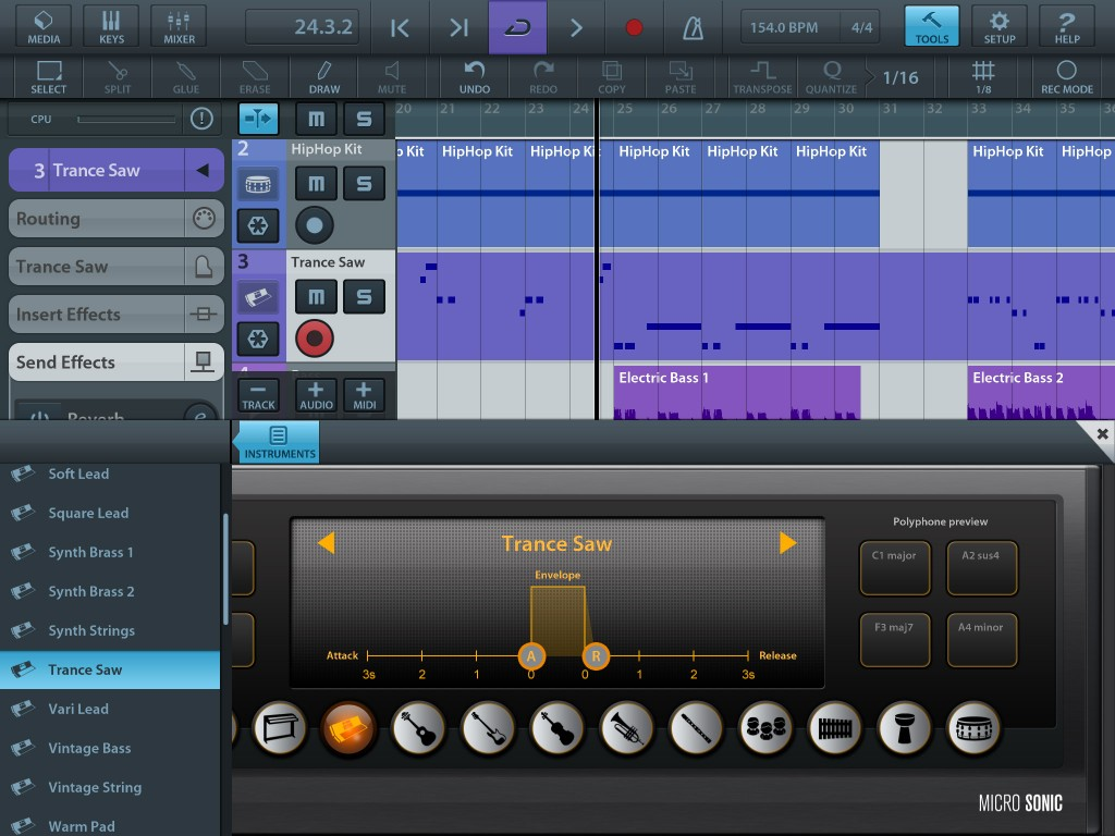 Cubasis can provide multiple audio and MIDI tracks and - as shown here - also includes a range of very playable virtual instruments.