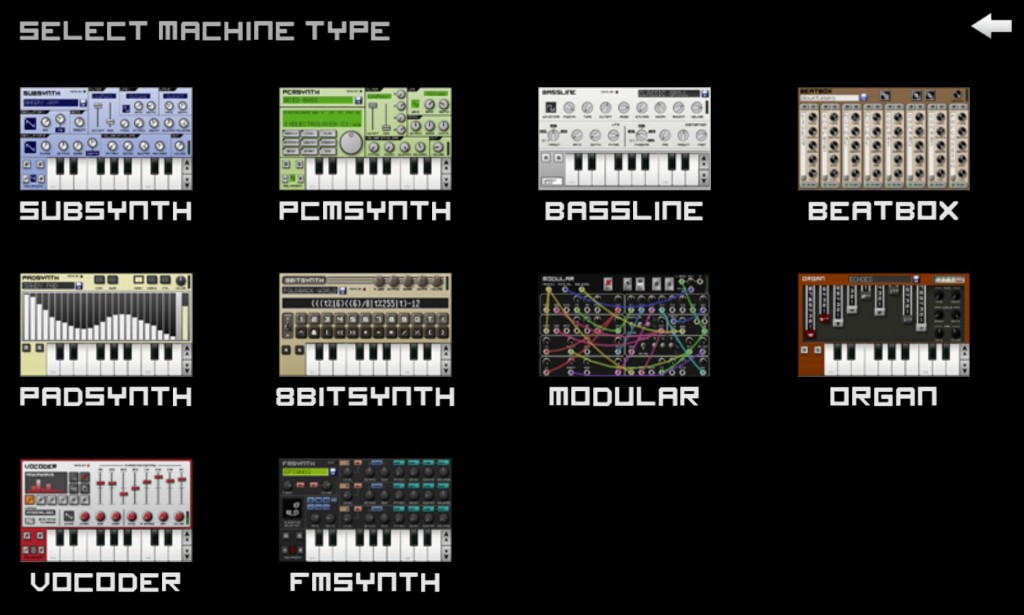 How many different virtual instruments can you get into one app? Caustic manages quite a few....
