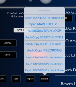 The contents of the various loopers can be exported for use in other apps.