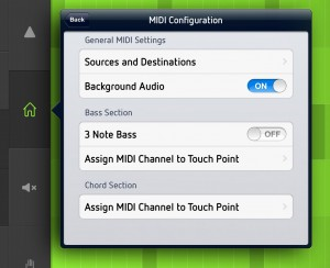 SoundPrism Pro allows you to send MIDI data to other iOS apps.