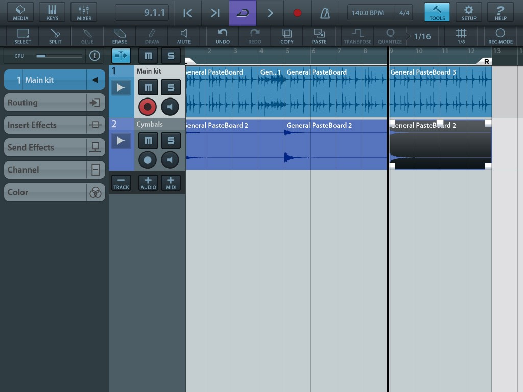 With the main loops and fills on one audio track and some cymbals added on a second track, building a complete drum track doesn't take long.