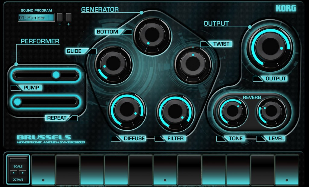 Brussels is also a mono synth but with a modern look and capable of some modern sounds.
