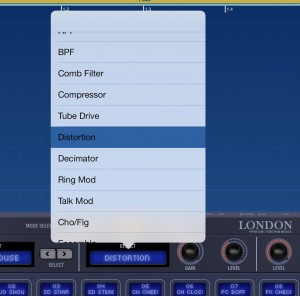 Most of Gadgets devices offer you an effect option - as shown here for the London drum device.
