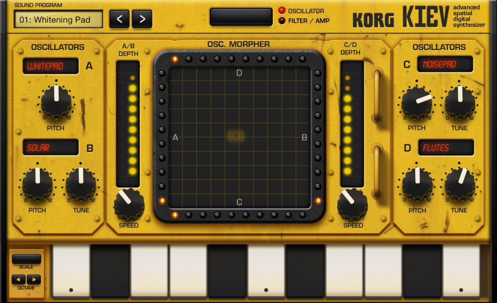 Kiev has a grungy look and includes an XY pad for sound tweaking. All sorts of things here from pads to bells.