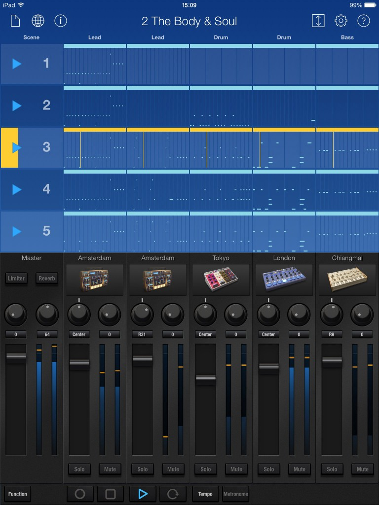 Gadget's main display is split into two sections. At the top you get the scenes and clips that build your song arrangement while at the bottom is a the Mixer with a channel for each device included in the song project.