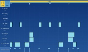 When editing drum parts, the piano roll editor is replaced by a grid-based one.