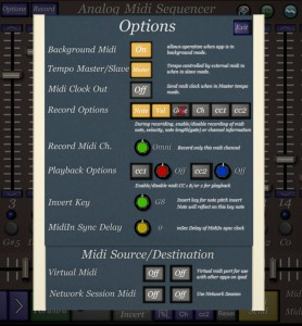 The Options pane contains lots of globals settings including the ability to configure the MIDI Clock and MIDI CC details.