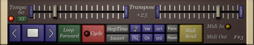 The bottom section of the display contains the transport controls amongst a few other key settings.