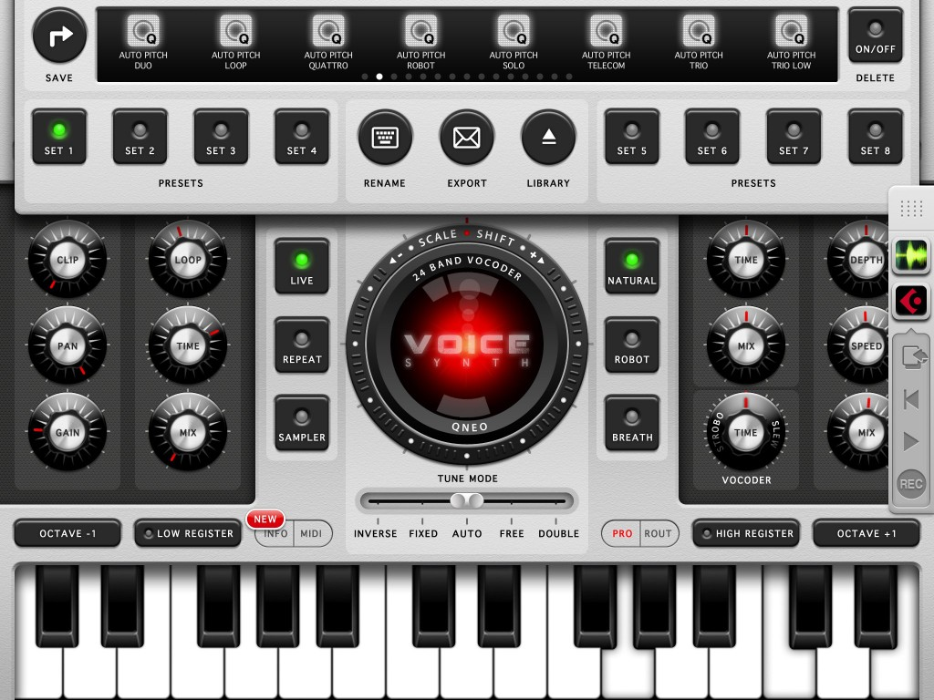Voice Synth in action. The interface is very well designed and the app includes a huge collection of presets that demonstrate the range of vocal processing options available.