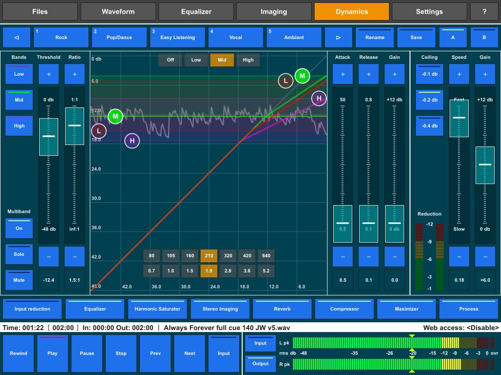 Audio Mastering now has a multi-band compressor option.