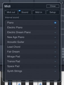ChordPolyPad has its own sound engine with a range of sounds to use while building your chord sets.