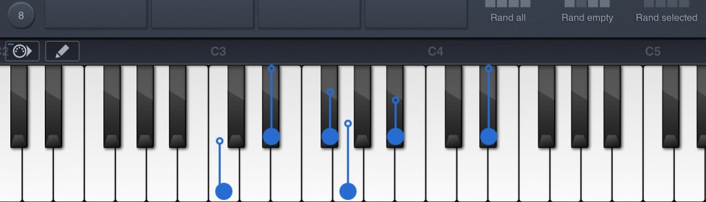 You can edit note selection for a pad and note velocity via the virtual keyboard.