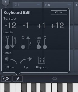 The keyboard section includes some useful additional tools for editing your note selections and settings.